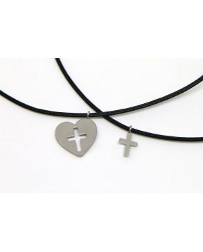 Schmuck-Set Herz und Kreuz