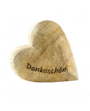 Deko-Holz-Herz aus massivem Naturfarbenem Pappelholz Dankeschön