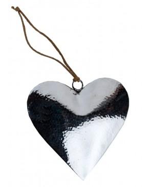 Edles gehämmertes Deko-Herz aus Aluminium mit Juteband