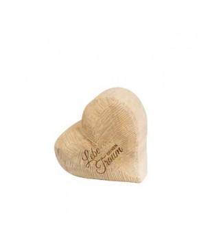 Deko-Holz-Herz aus massivem Naturfarbenem Pappelholz Lebe Deinen Traum